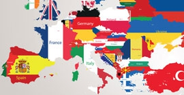 Colorful Europe flag map